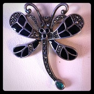 Vintage Sterling Silver & Marcasite Dragonfly Pin